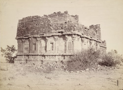 General view from the south-east of the ruined Meguti Temple, Aihole